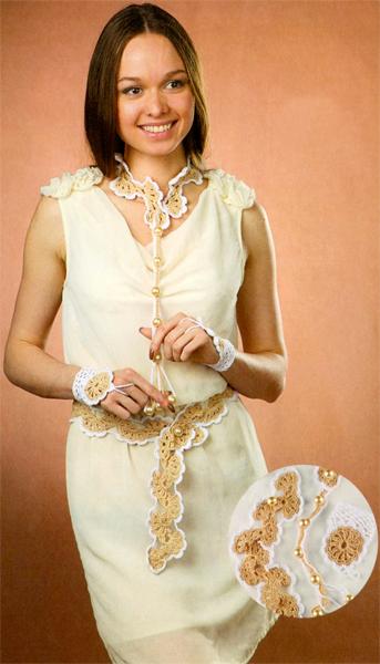 Комплект этнических аксессуаров: вязание митенок