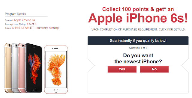 Collect 100 points and get an IPhone 6s