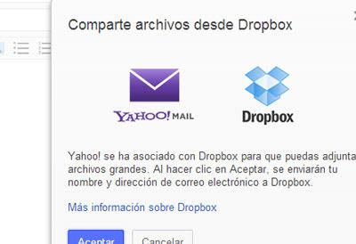adjuntar archivos yahoo correo dropbox