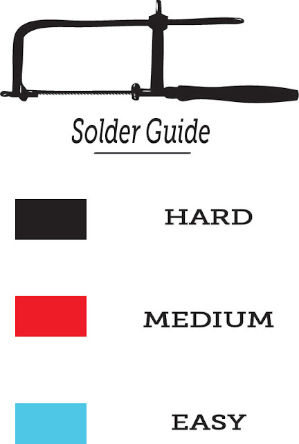 hard, medium, easy, solder, silver, color guide