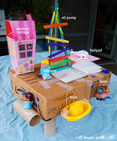 At home with ali i can 39 t believe we made an oil rig for Model making with waste material