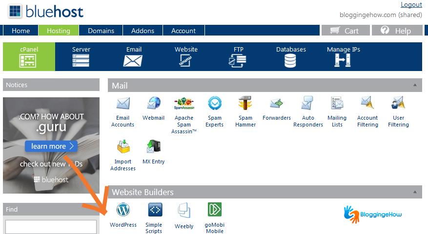 bluehost dashboard wordpress option