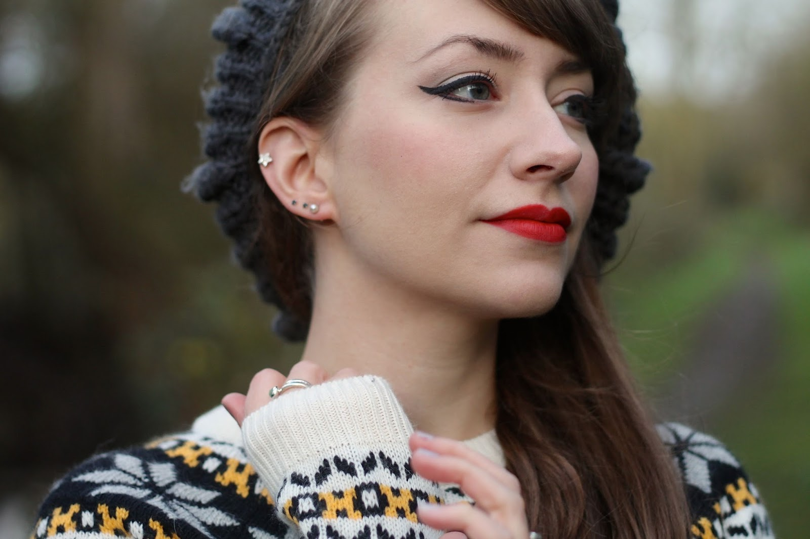 Grey chunky knit beanie and fair isle jumper