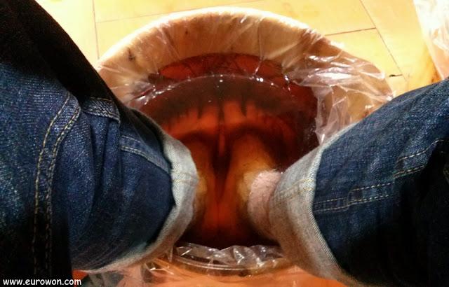 Baño de pies con ginseng