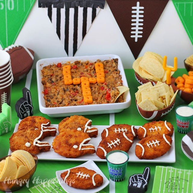 Zesty Cheddar Ranch Crispy Fried Chicken Footballs & Helmets and Baby Bella Cheeseburger Dip are perfect appetizers for your Super Bowl or Tailgating Parties from HungryHappenings.com