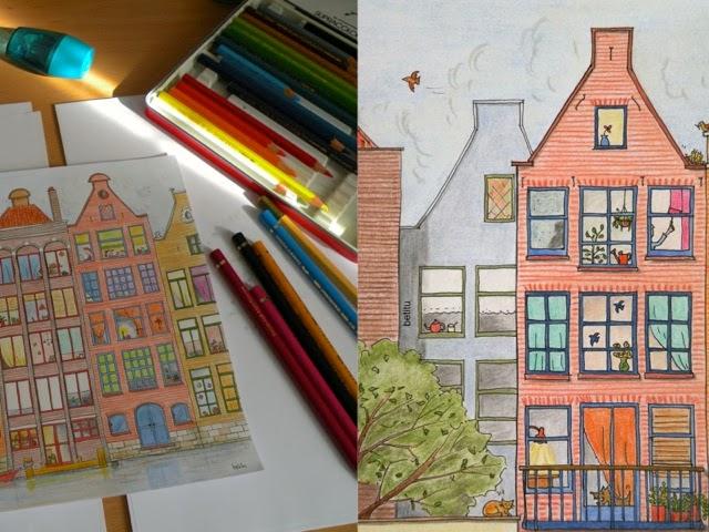 dutch facades detail - illustration by betitu