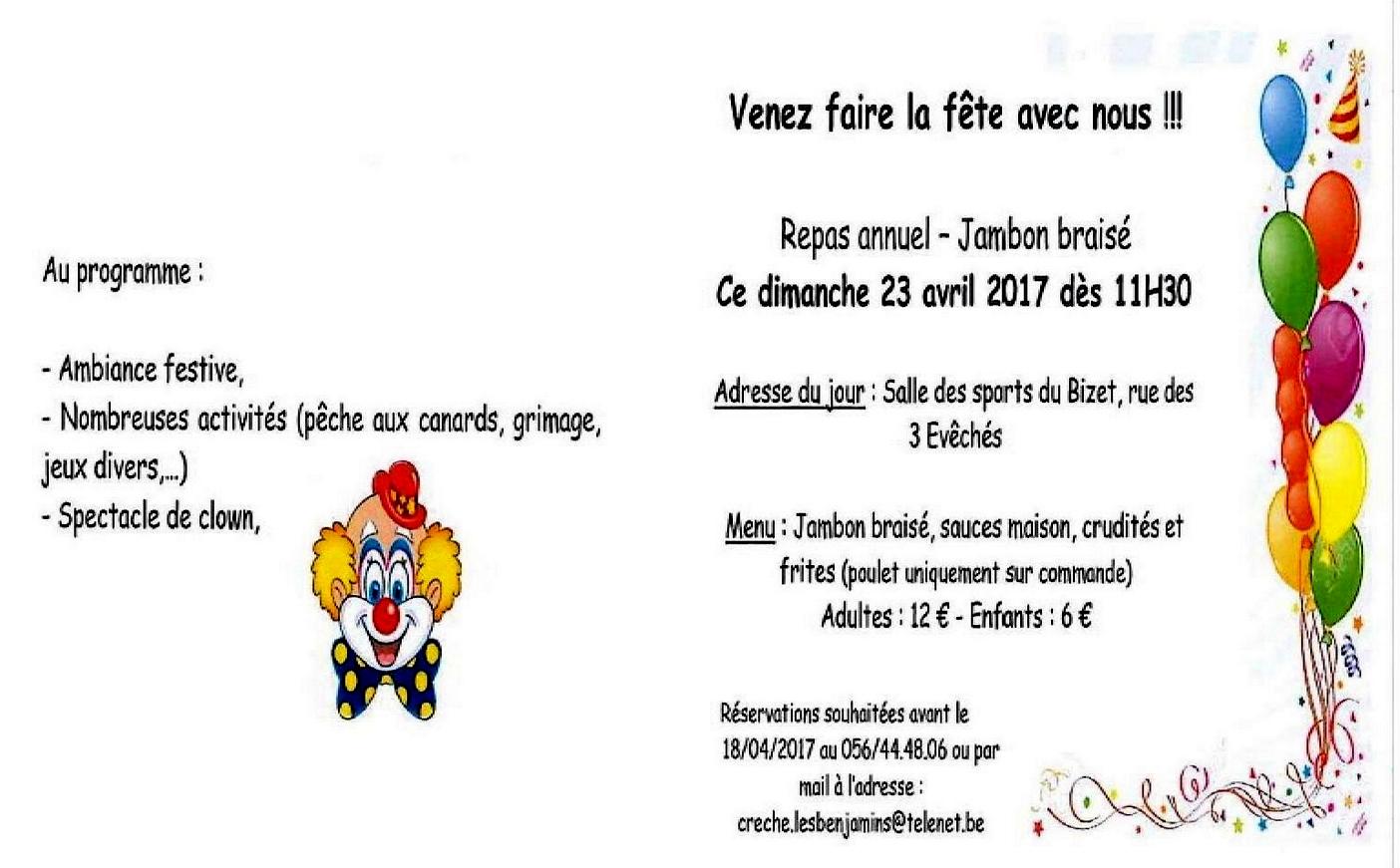 23 avril repas de la Crèche en la salle des sports du Bizet