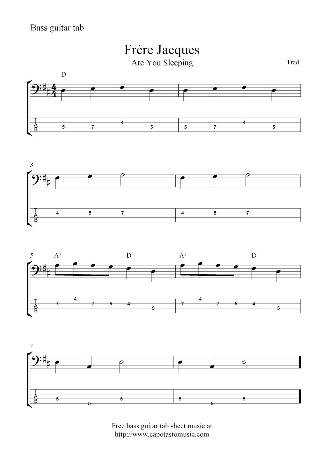 Free bass guitar tab sheet music, Fru00e8re Jacques (Are You Sleeping)