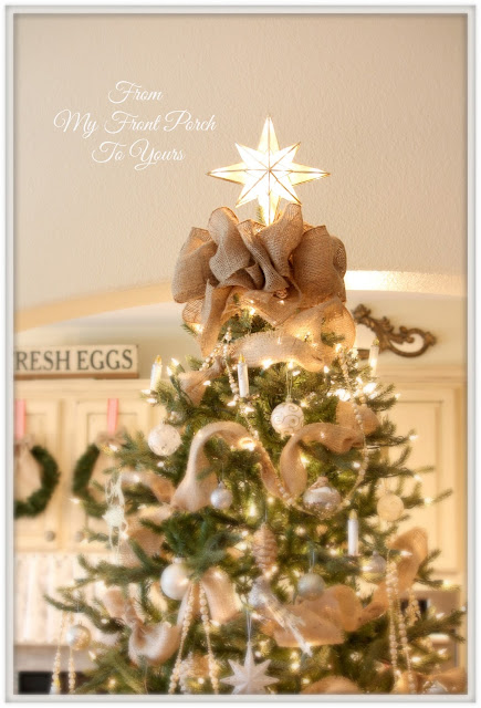 From my front porch to yours christmas tree reveal 2013 for Burlap ribbon on tree