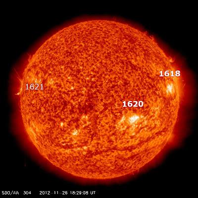 MANCHAS SOLARES ACTIVAS 26 DE NOVIEMBRE 2012