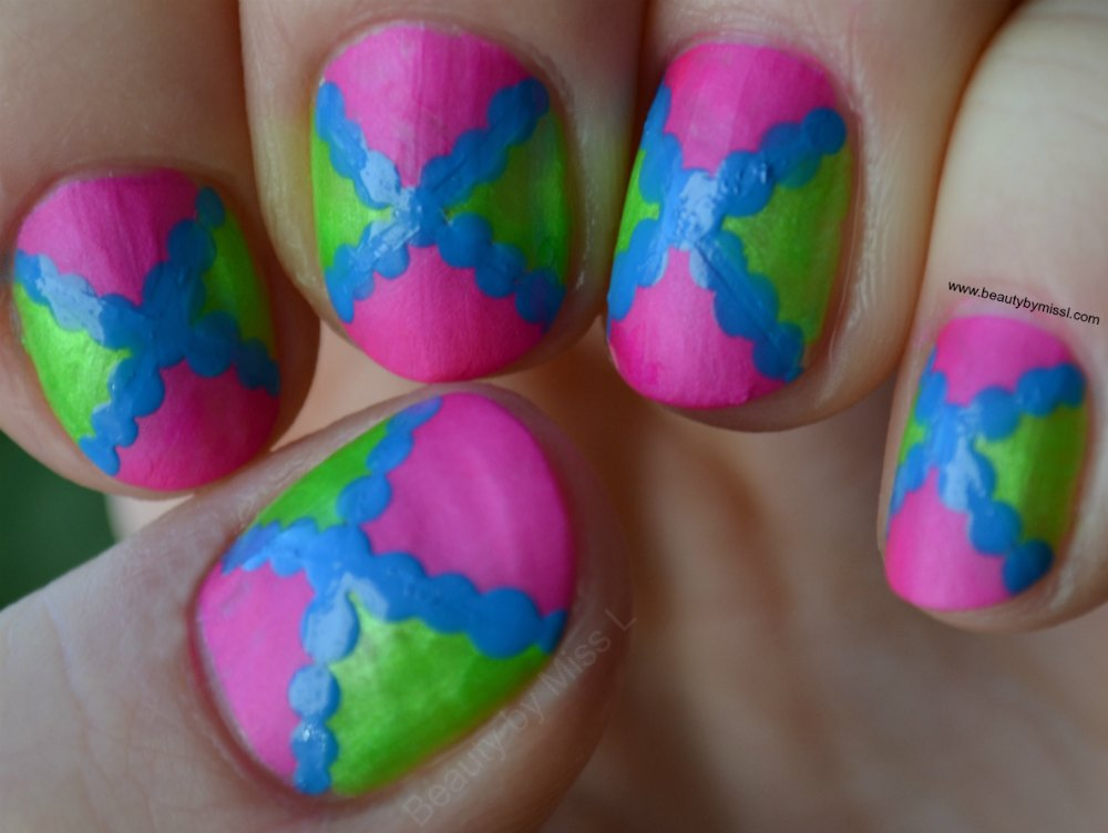 colorful geometric nail art