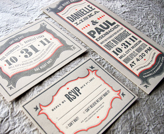 Gray Red Halloween Letterpress Wedding Invitations for fall