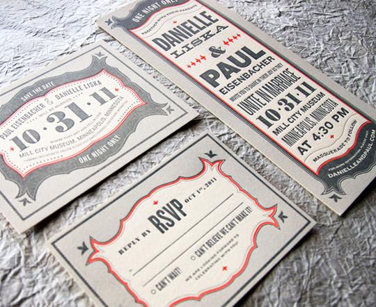 Gray Red Halloween Letterpress Wedding Invitations for fall