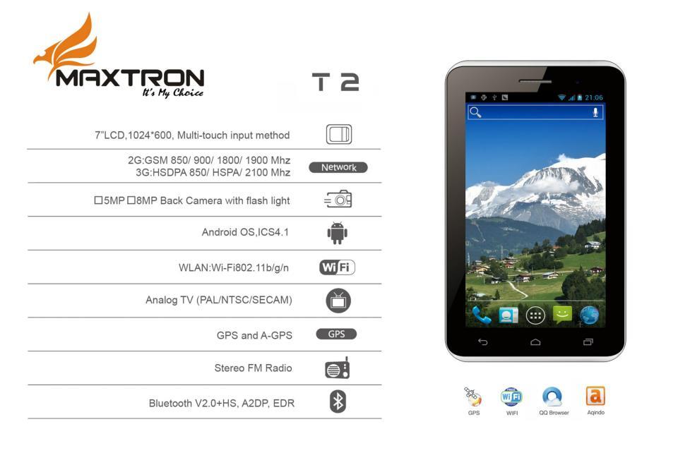 Inilah Maxtron T2 Tablet 3G HSDPA
