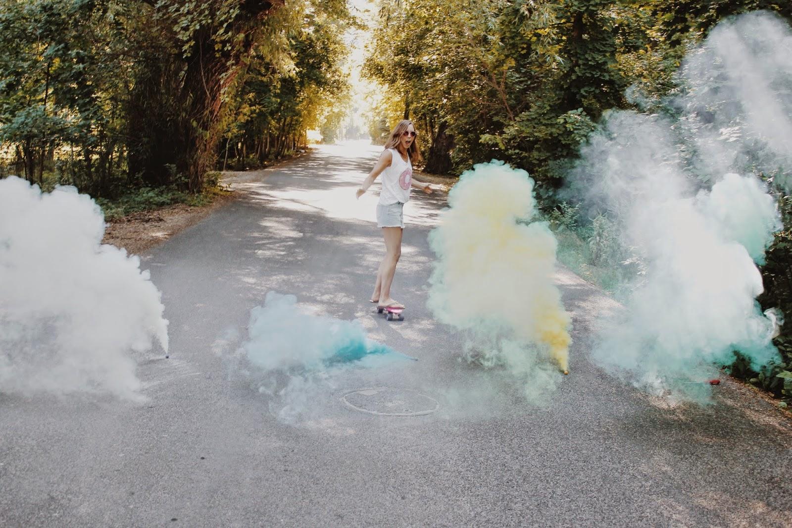 Smoke balls, Girl, donut t-shirt, jean cut offs, summer, doughnut, national donut day