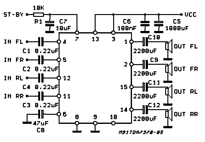 4 x 6 5w quad power amplifier for car radio