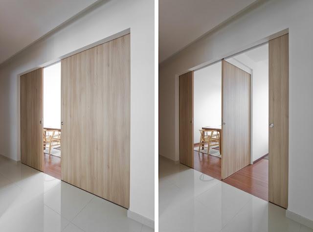 Inspiraci n revestimientos de madera con puertas for Correderas de madera