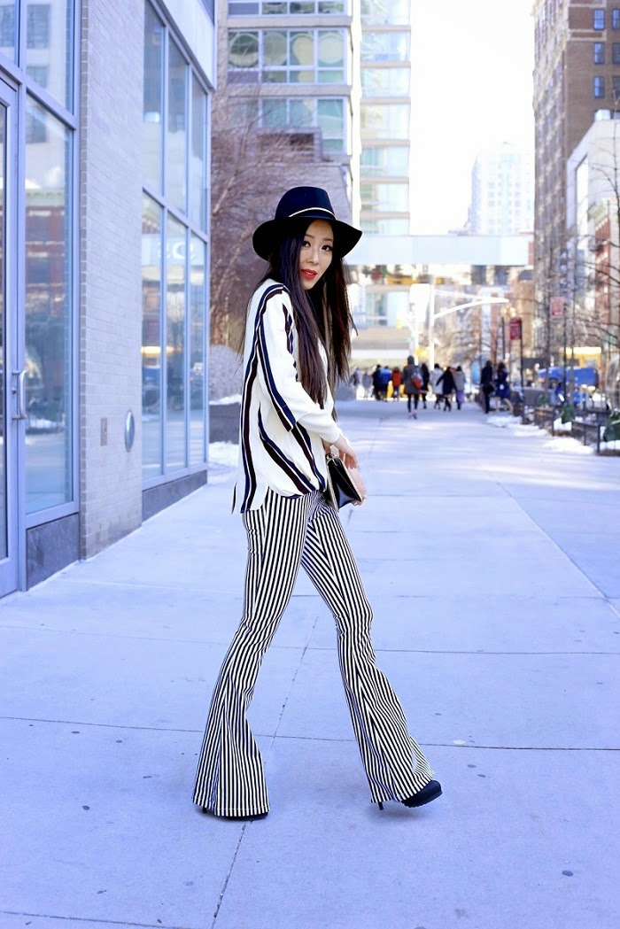 Topshop open front blouse, tripe blouse, alice and olivia stripe pants, janessa leone stephen hat, ysl lipstick, 31phillip lim bag, nastygal ring, baublebar pearl ring, stripe on stripe outfit, fashion blog, streetstyle, nyc