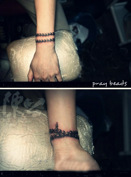 pray beads bracelet tattoo shown from two angles