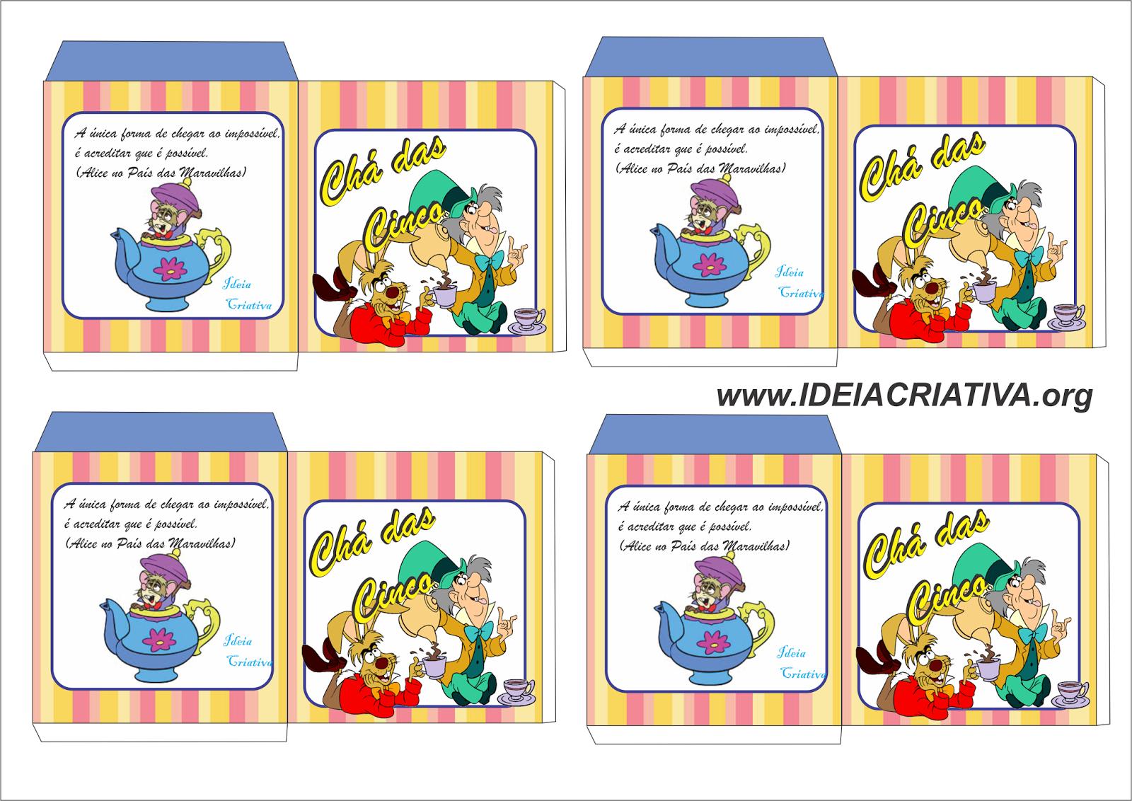 Saquinho de Chá Personalizado Alice no País das Maravilhas