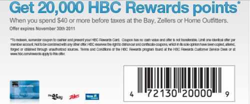 Hbc points coupon nov 2018