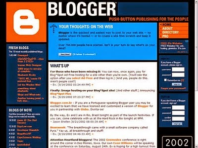 2002 yılında blogger