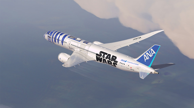 Star Wars R2-D2 ANA Jet Arriving in Singapore