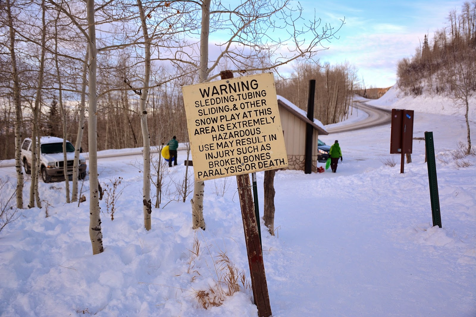 Warning sign for sledding