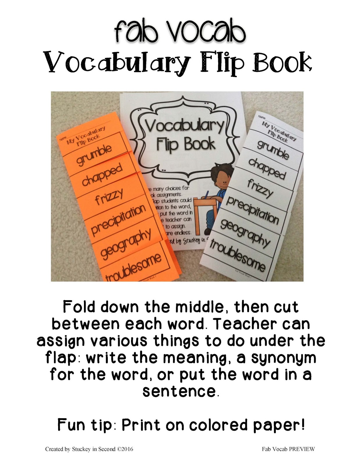 Stuckey In Second Fab Vocab Weekly Vocabulary Units