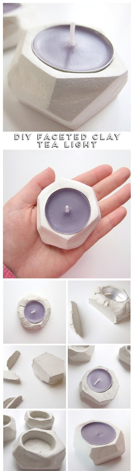 Make these Diy Faceted Clay Tea Light Holders // Click through for full tutorial