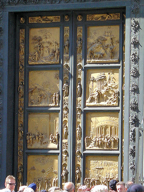 Ghiberti's 'Gates of Paradise' panels depict 10 scenes from the Old Testament.