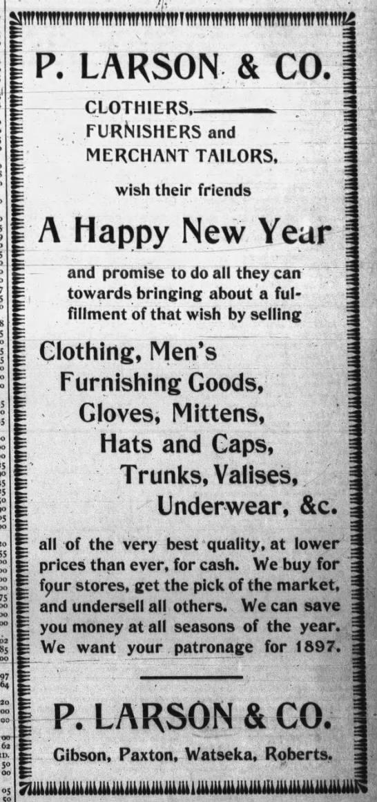 P. Larson & Co. 1897 Ad