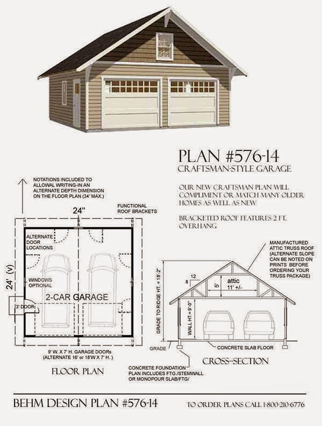 Garage plans blog behm design garage plan examples for Garage with attic