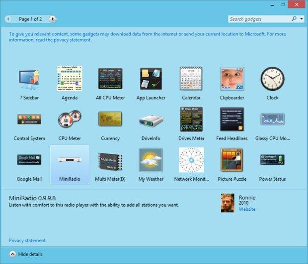 gadget pack windows 8