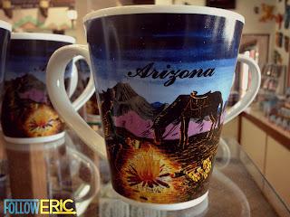 A souvenir coffee mug from Arizona during a road trip.
