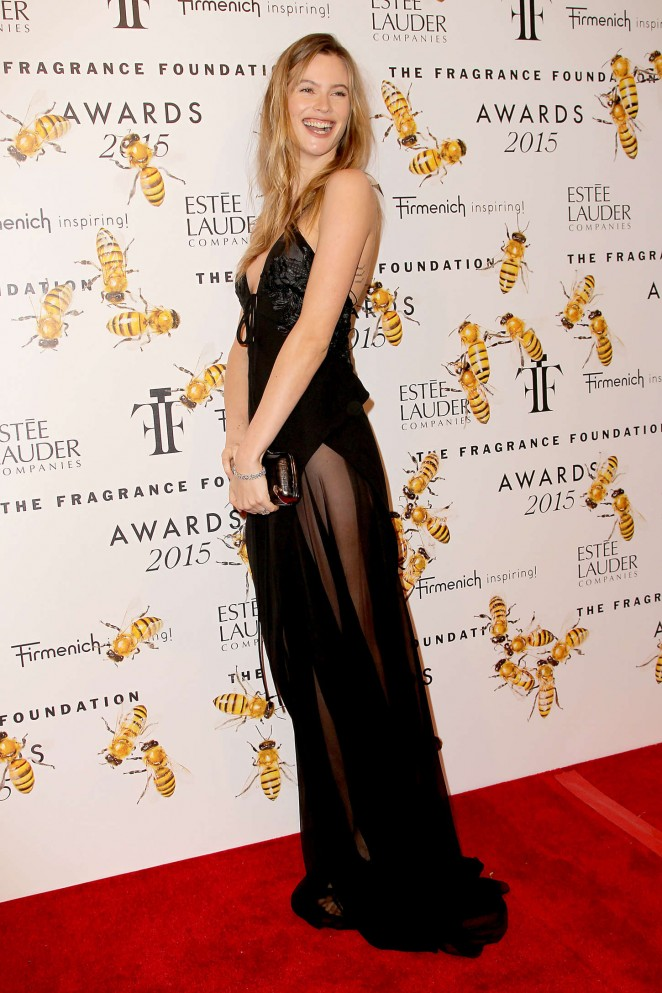 Behati Prinsloo in a sheer dress at the 2015 Fragrance Foundation Awards in NYC
