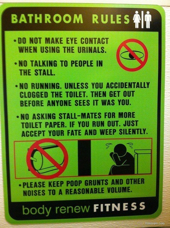 Funny Bathroom/Toilet Rules Sign Picture