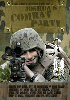 Combat/Army Party Personalized Invitation