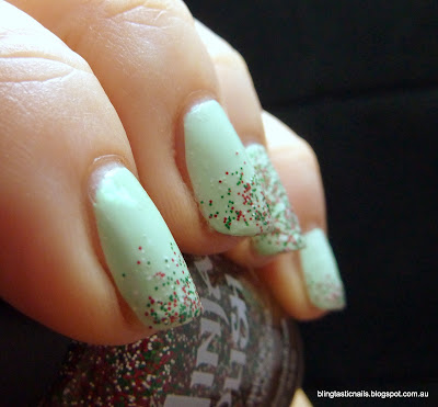 China Glaze Refreshmint with Ninjapolish Festive Floam