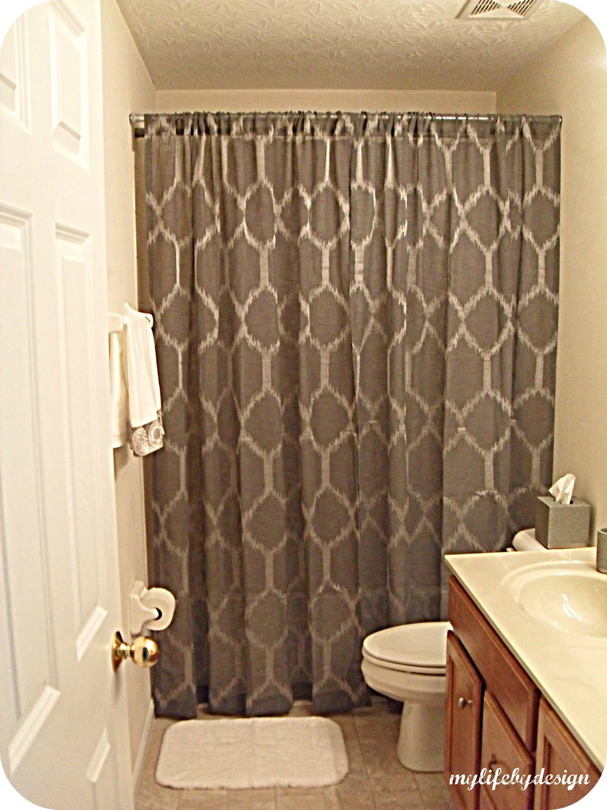 I Hung The Curtain Higher And On Outside Of Tub While Liner Rod Was Lower Inside Shower Area Result