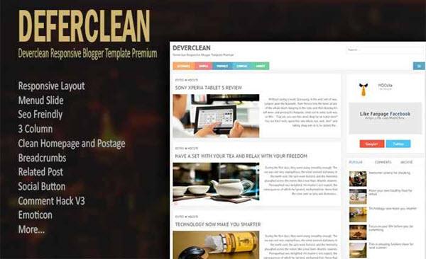 Deferclean responsive blogger template