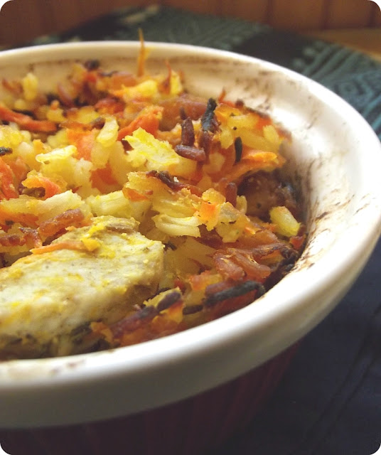 Zapiekanka ryzowa z mięsem, marchewka, kuminem...