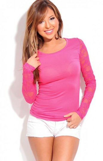 FUCHSIA BOAT NECK LONG SLEEVE LACE BACK TOP