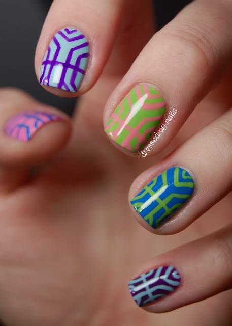 Colorful art deco inspired nail art