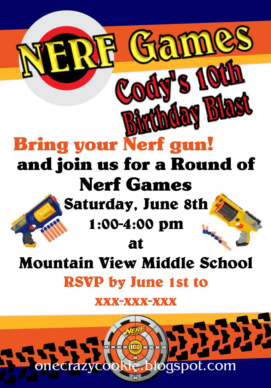 It's just a photo of Challenger Free Printable Nerf Party Invitations
