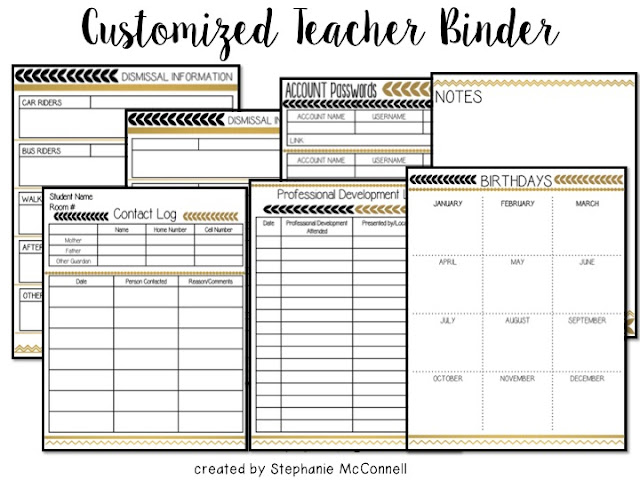 customized teacher binder and planner  black and white stripes with gold foil