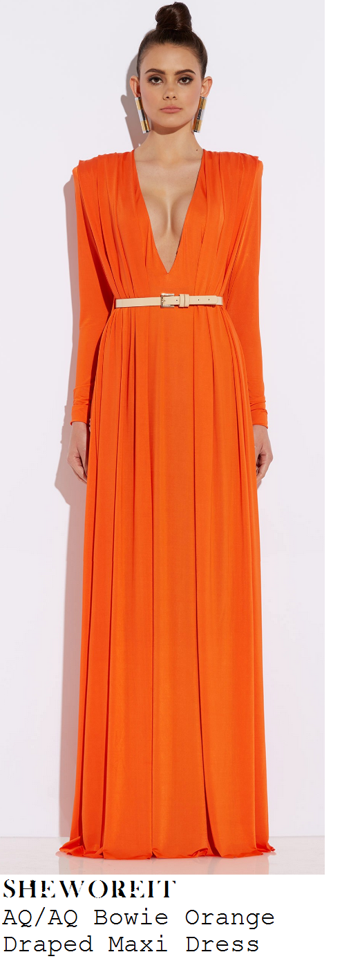chloe-sims-bright-neon-orange-deep-v-neckline-plunge-front-long-sleeve-draped-maxi-dress-pride-of-britain-2014