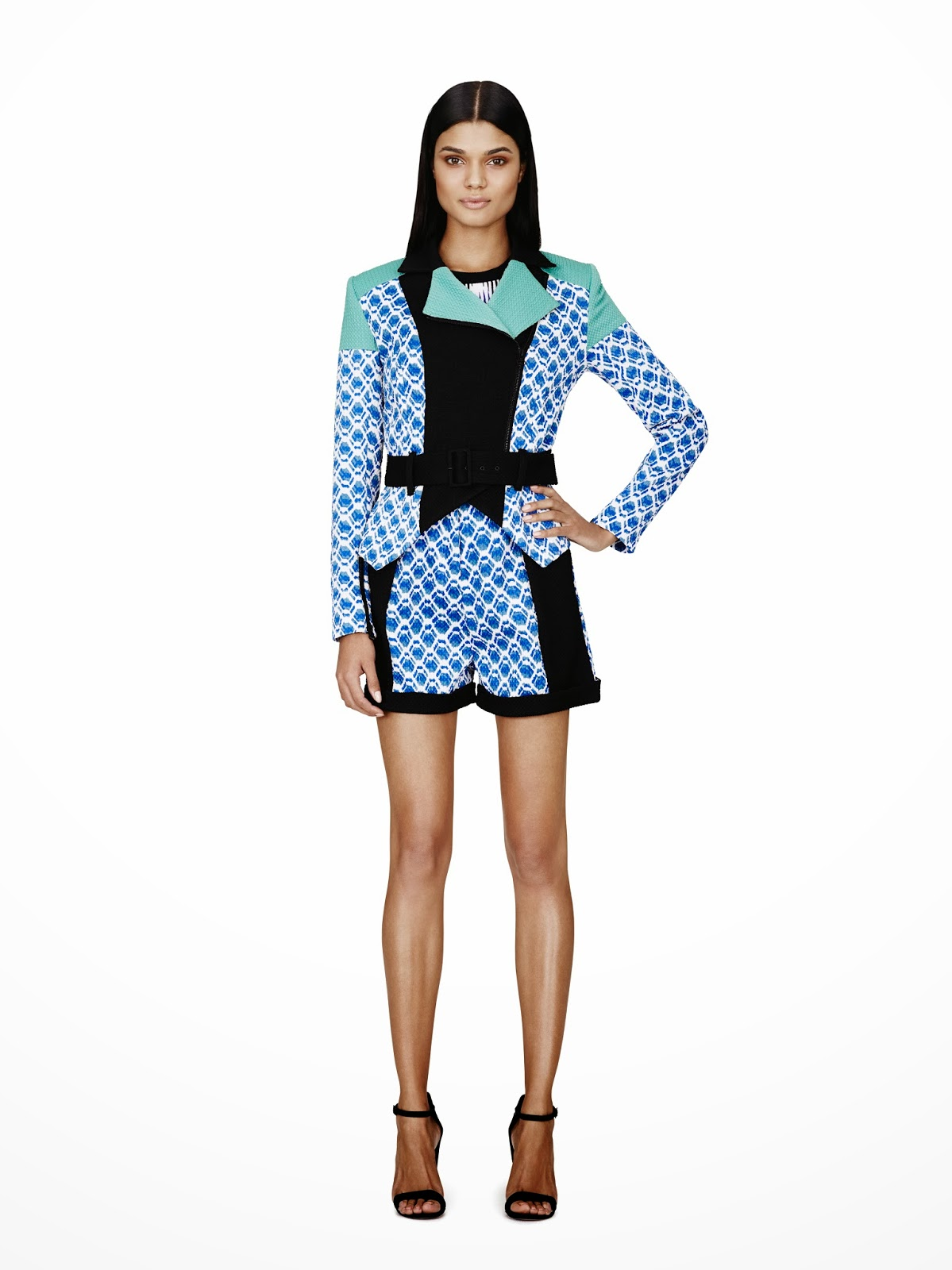 Peter-Pilotto-Target, moto-jacket, blazer, green-blue-black, Spring-Summer-2014
