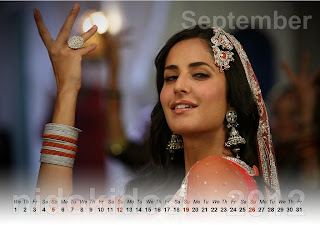 Beautiful Katrina Kaif Desktop Calendar 2012