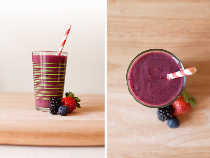 Get you nutrients fast and enjoyably with this Berry Breakfast Smoothie Recipe. The berries have antioxidants which help cleanse your system and get you off to a fresh start. | brewedtogether.com